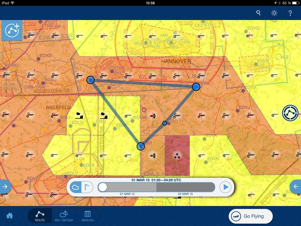 Jeppesen Mobile FliteDeck Wetterdarstellung